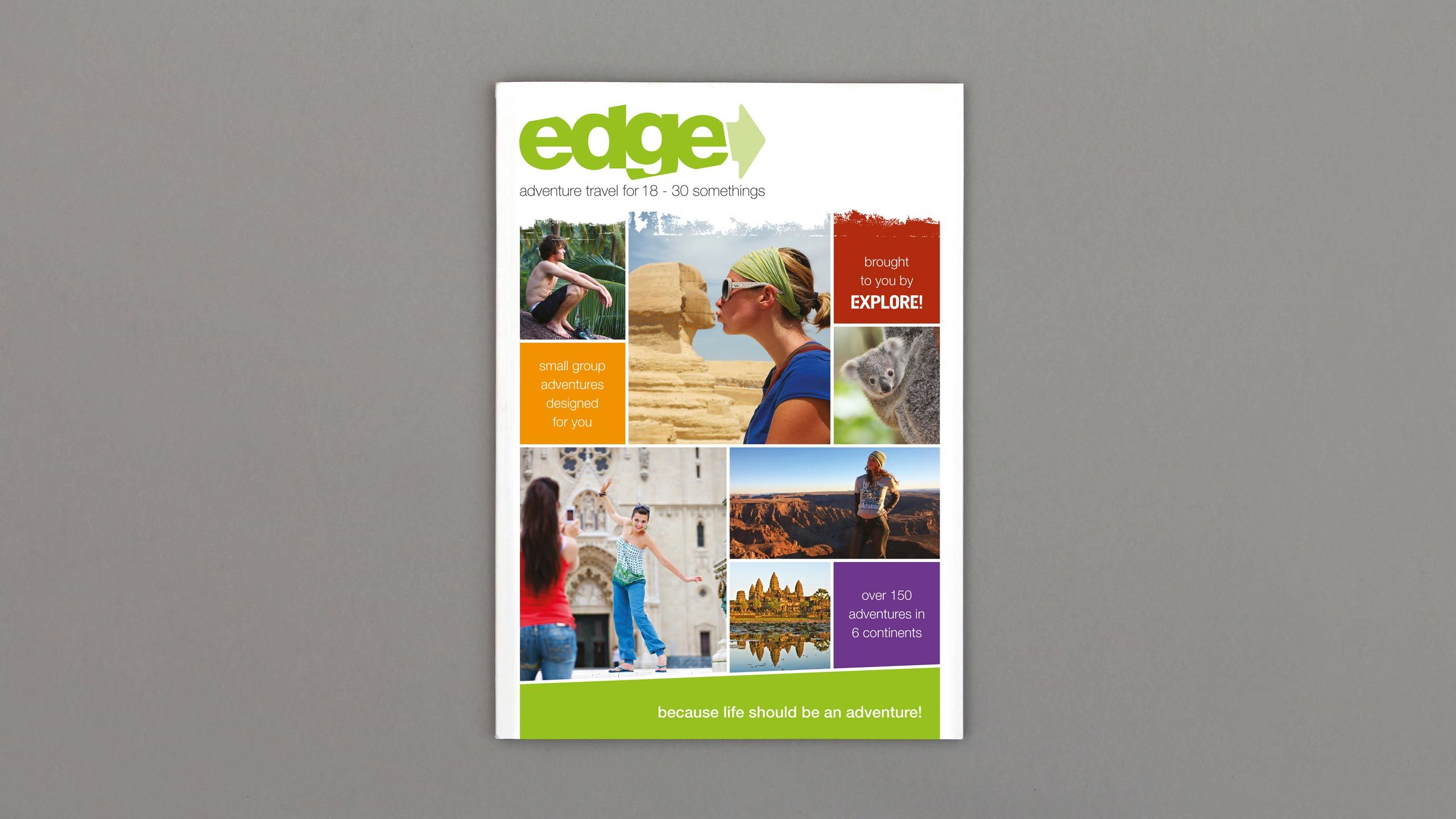 18-30 travel brochure design front cover edge adventure