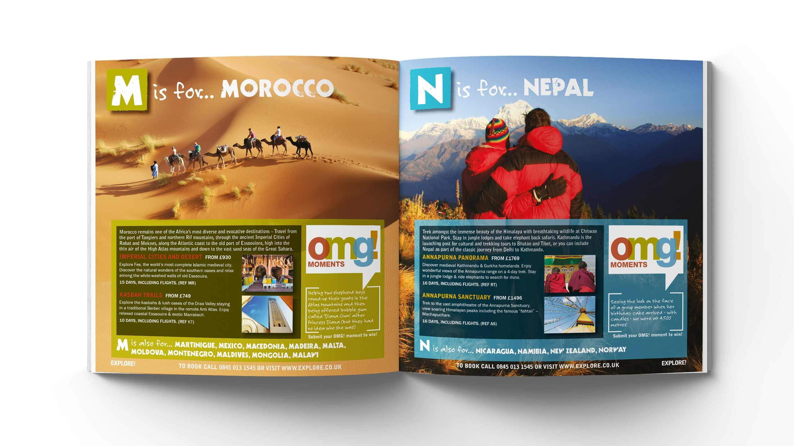 adventure travel brochure design morocco nepal pages omg marketing campaign