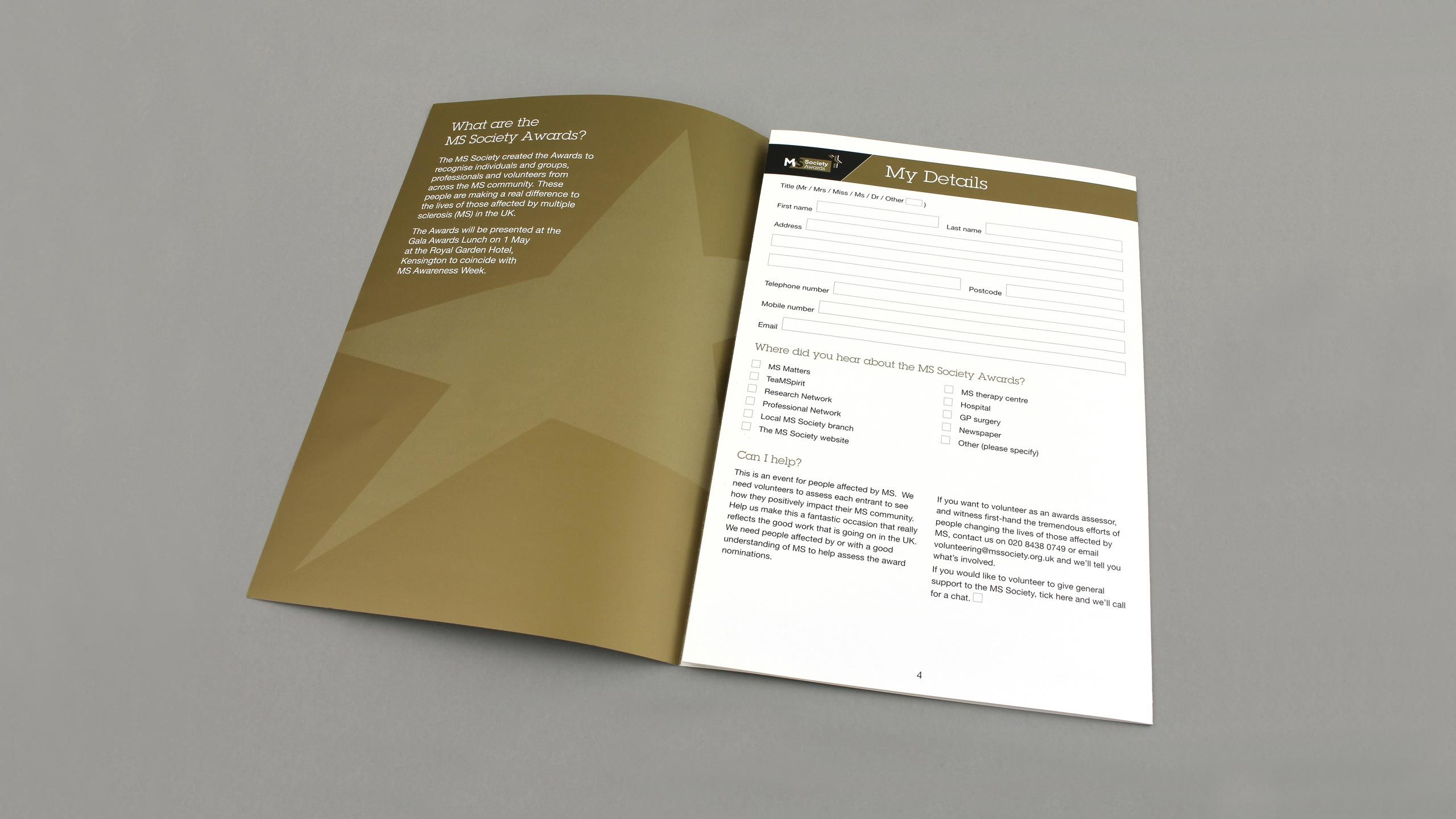 charity brochure design my details page ms society
