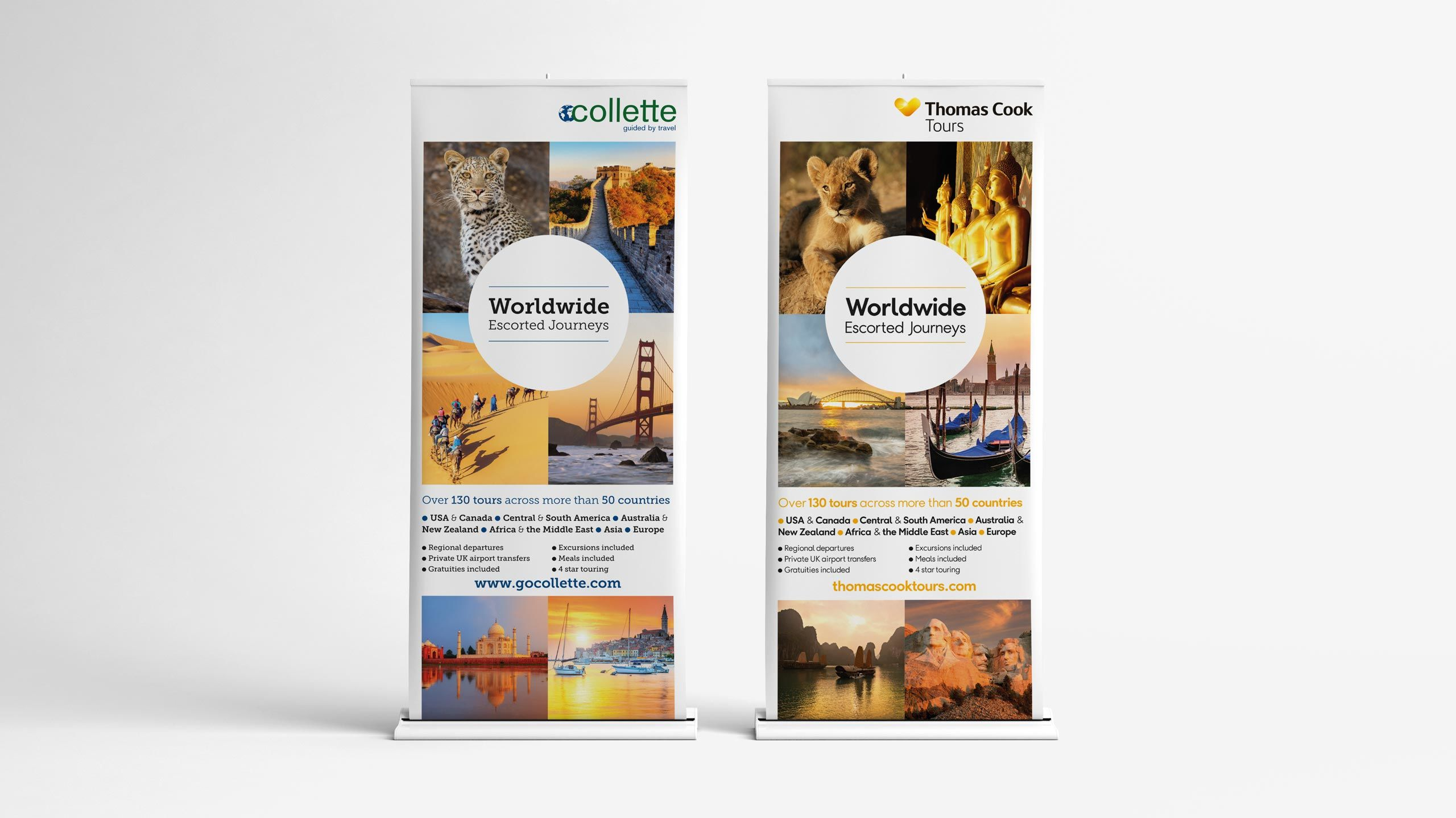 escorted travel branding pull up banners collette thomas cook
