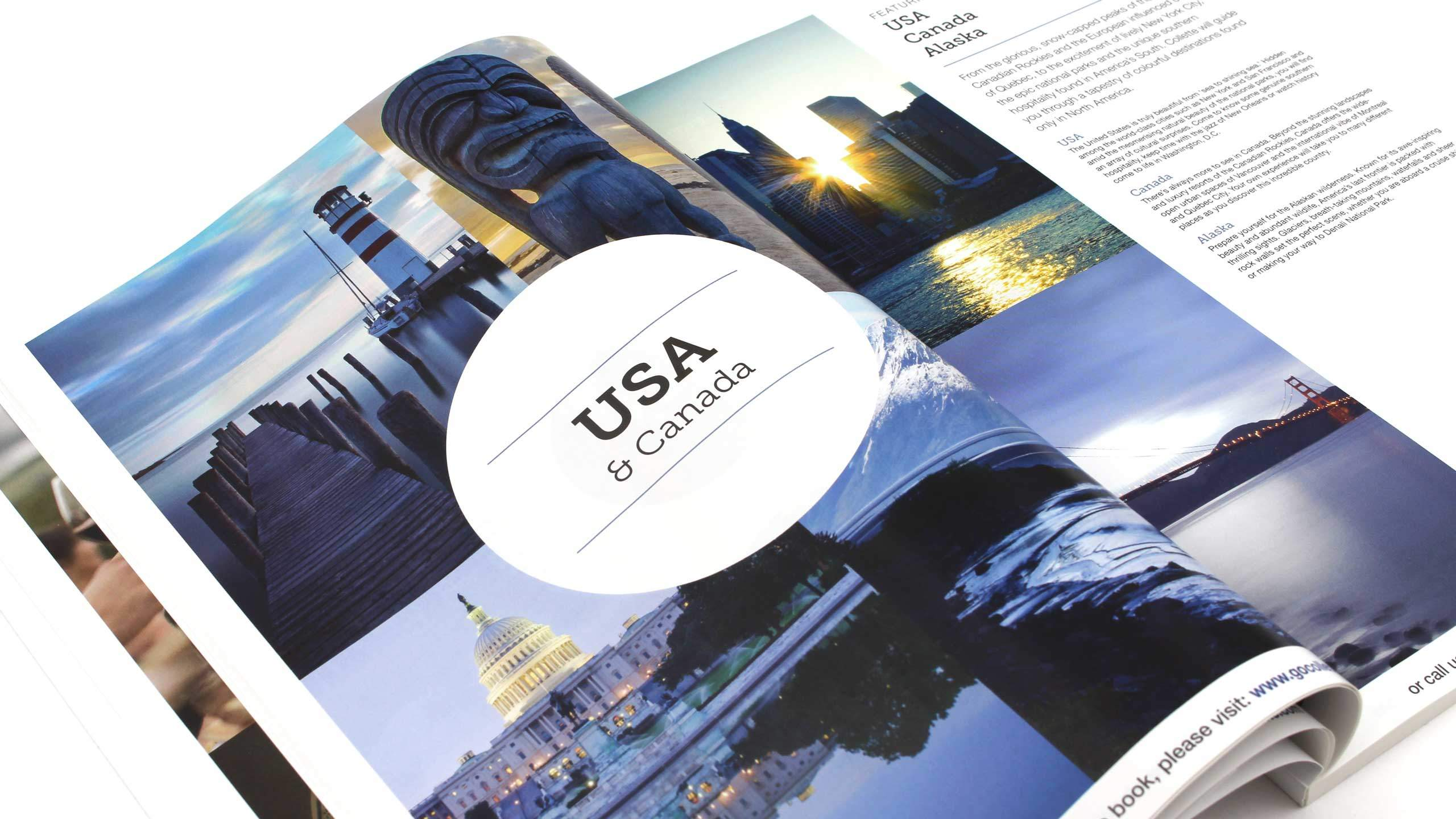 escorted travel brochure design usa canada pages collette thomas cook