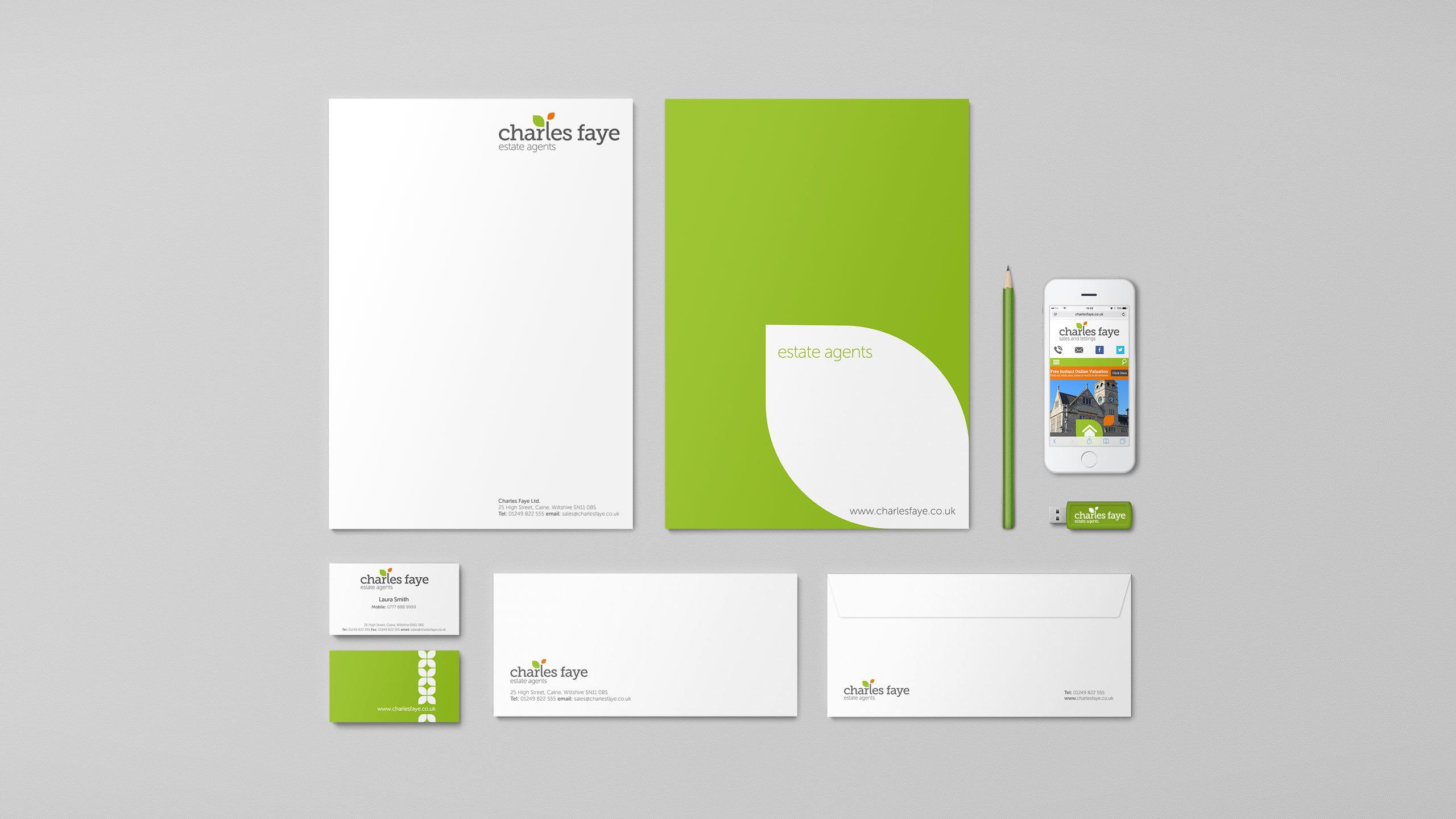 Estate agent logo design and branding Charles Faye stationery