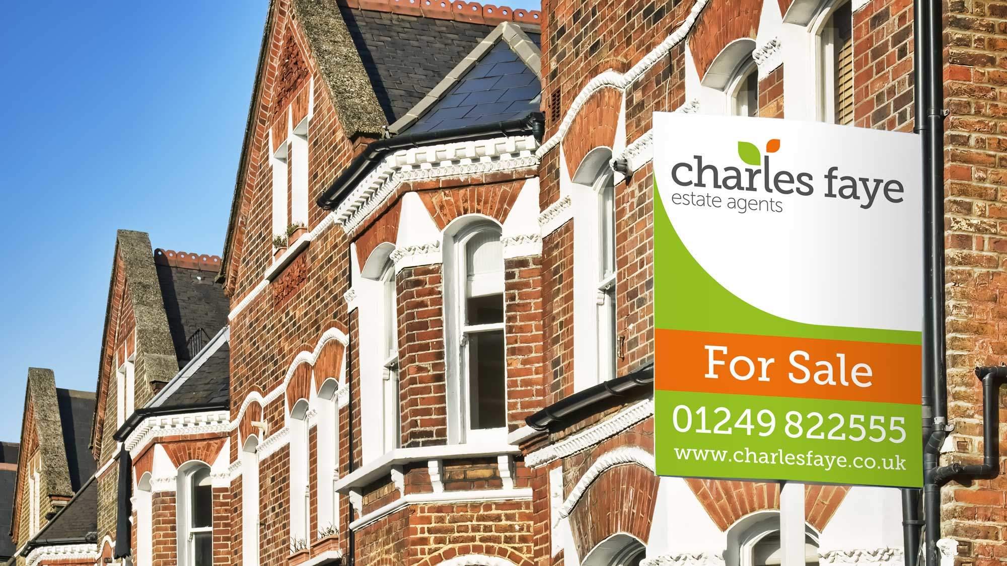 Estate agent branding on Charles Faye for sale sign