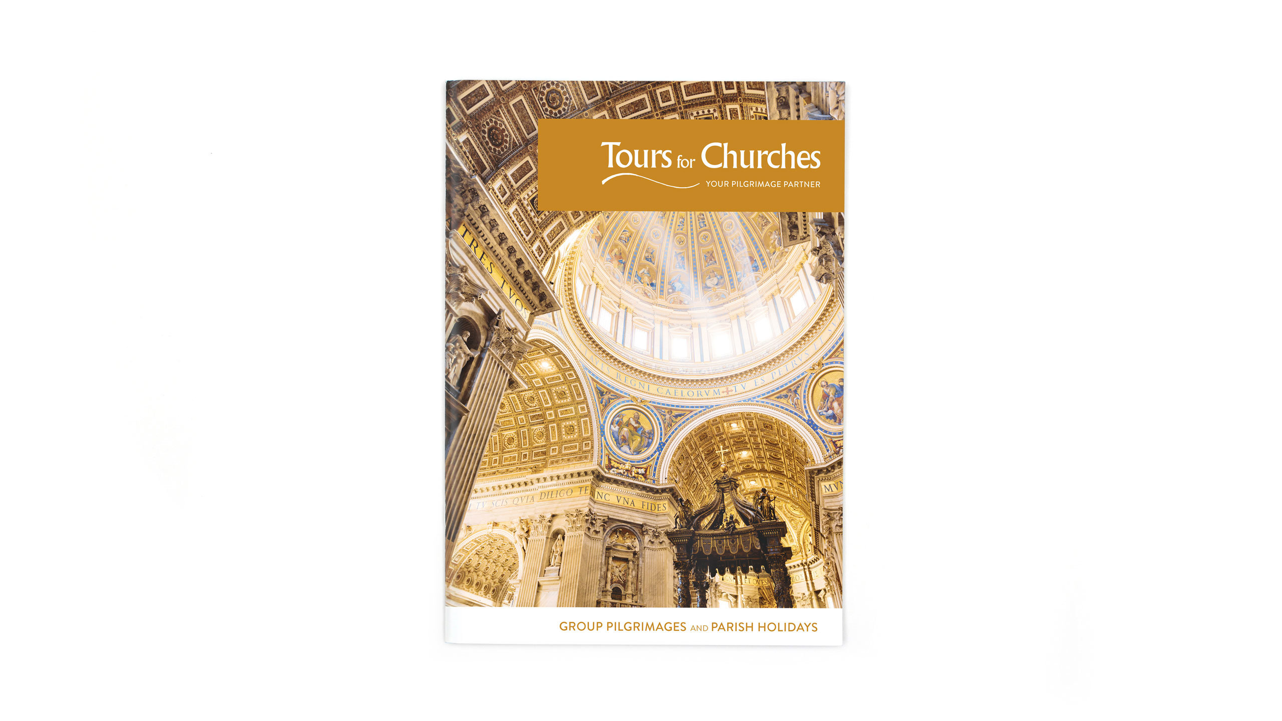 religious tours brochure design front cover tours for churches