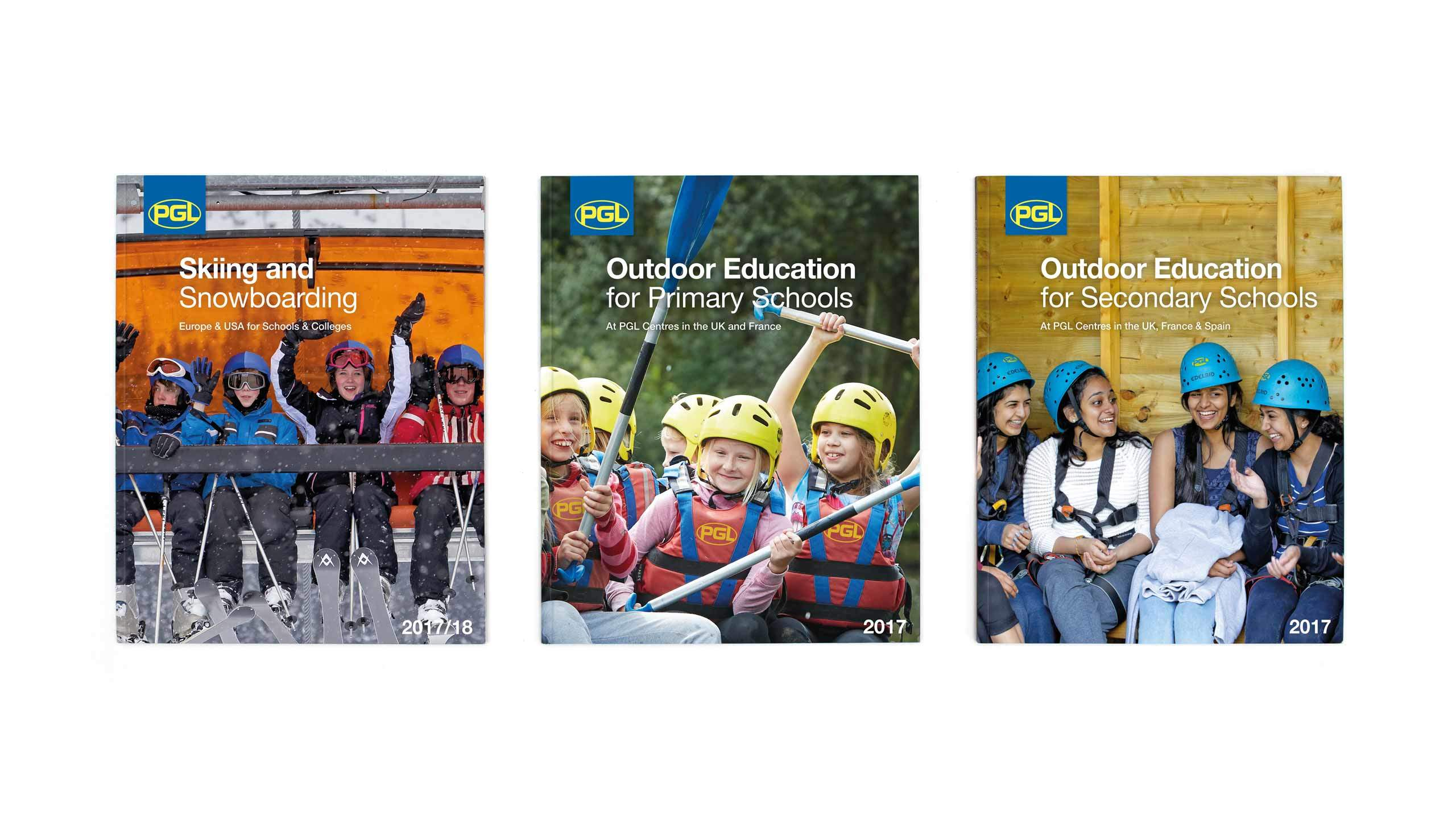 school adventure brochure design front covers pgl travel