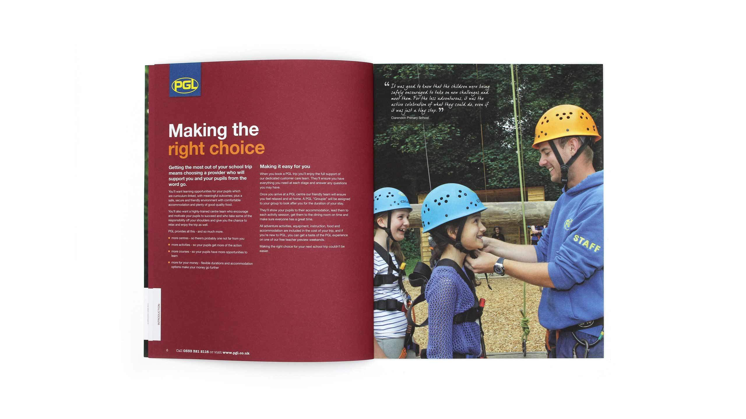 PGL Schools brochure right choice spread