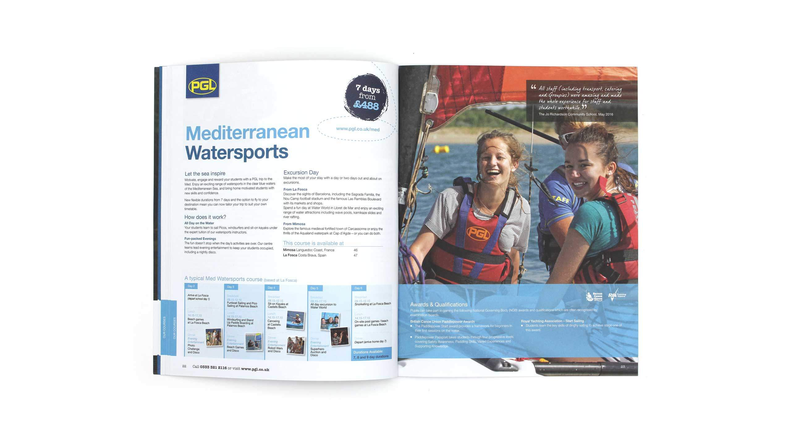 PGL Schools brochure watersports spread