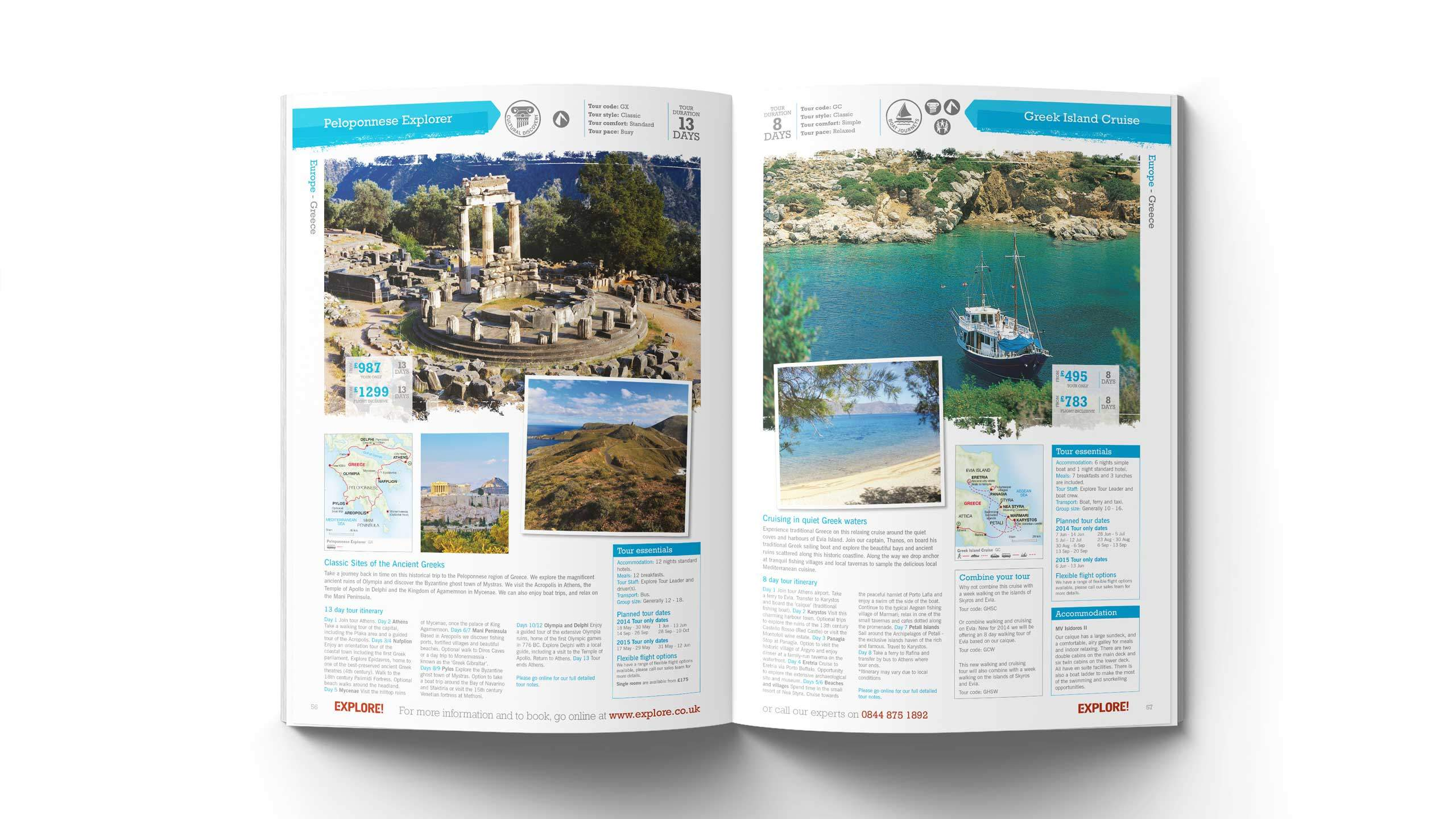 adventure travel brochure design peloponnese greek island pages explore worldwide