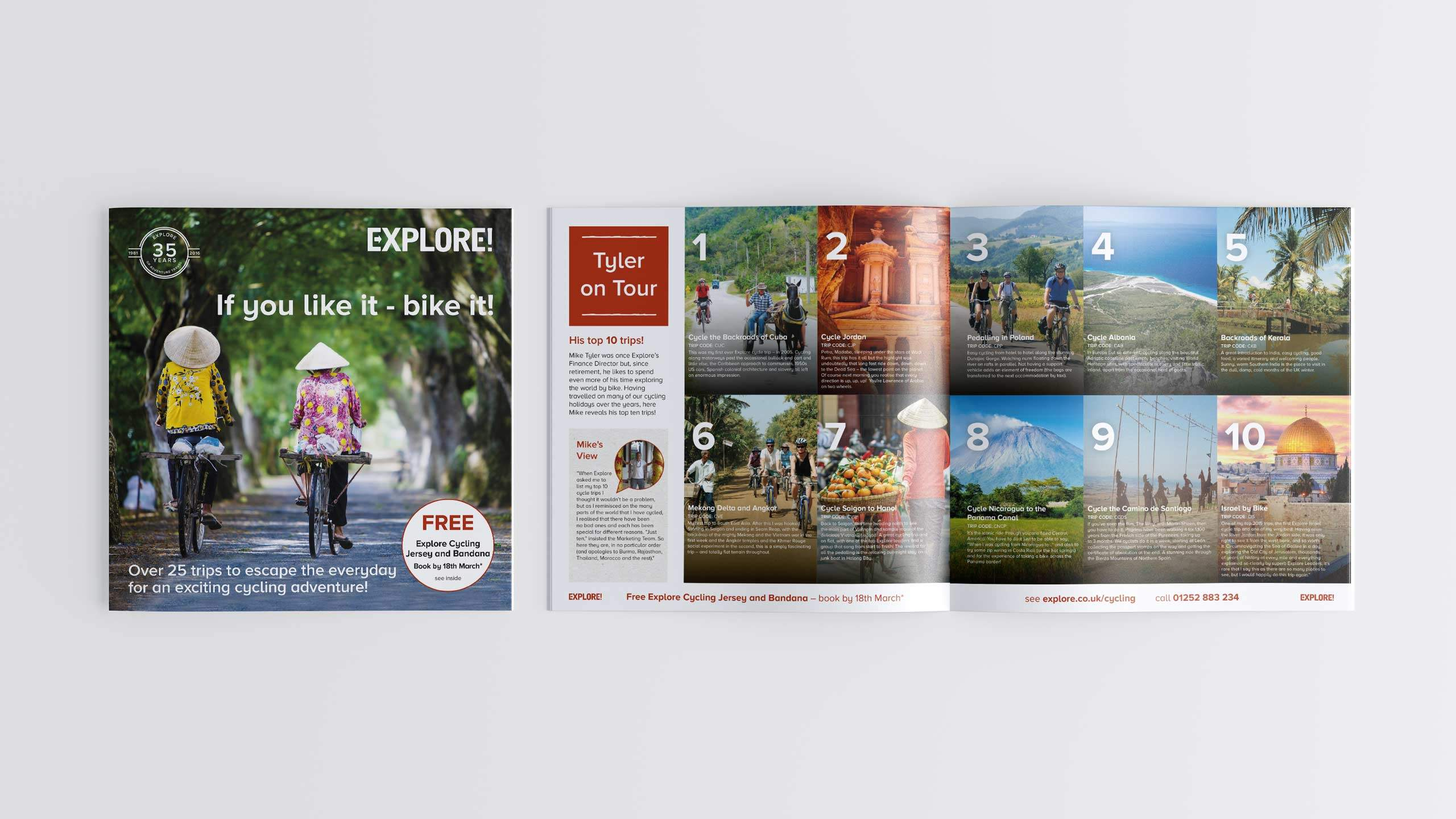 adventure travel brochure design refresh front cover intro pages cycling direct marketing