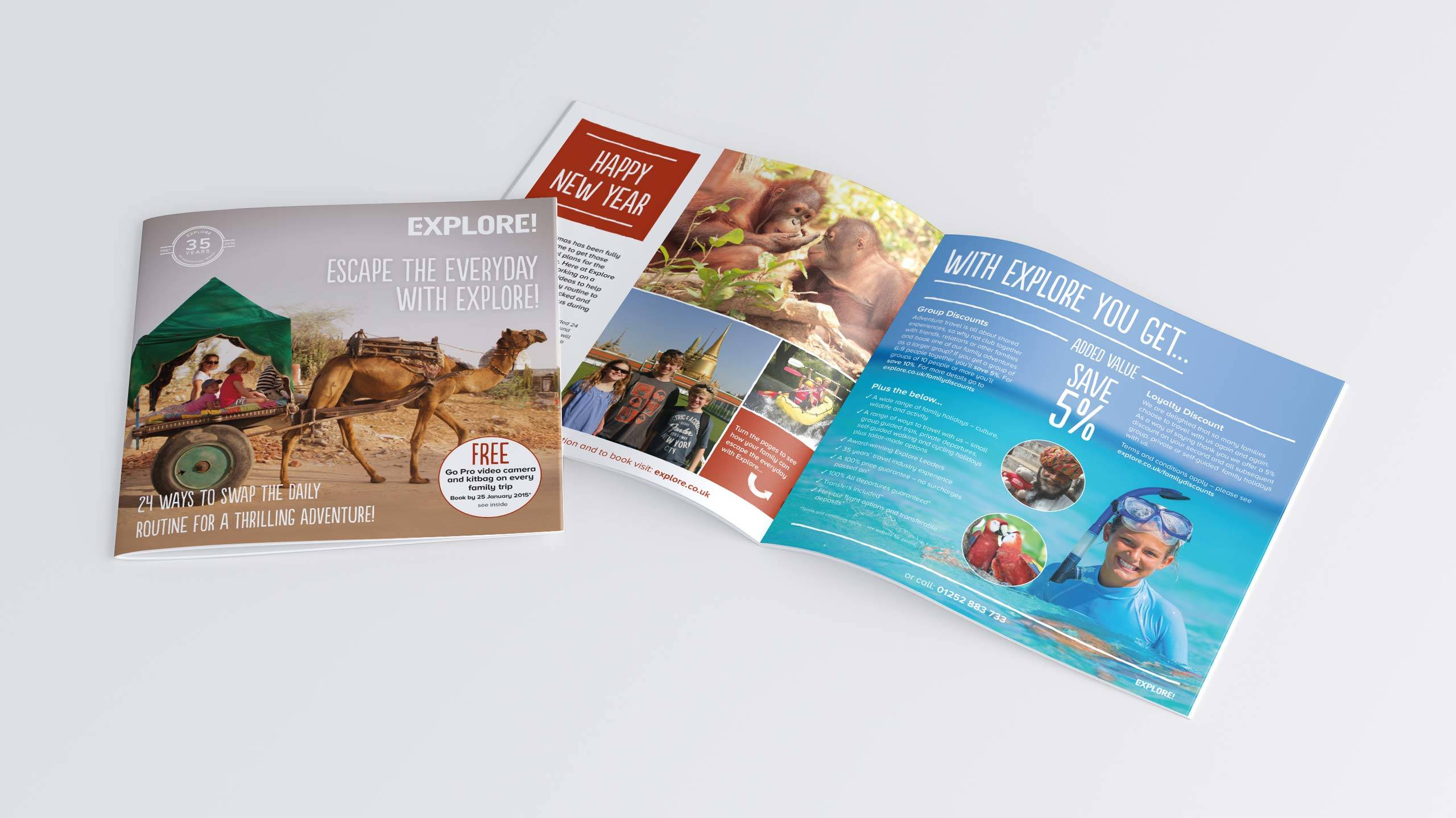 adventure travel brochure design refresh front cover intro pages family direct marketing