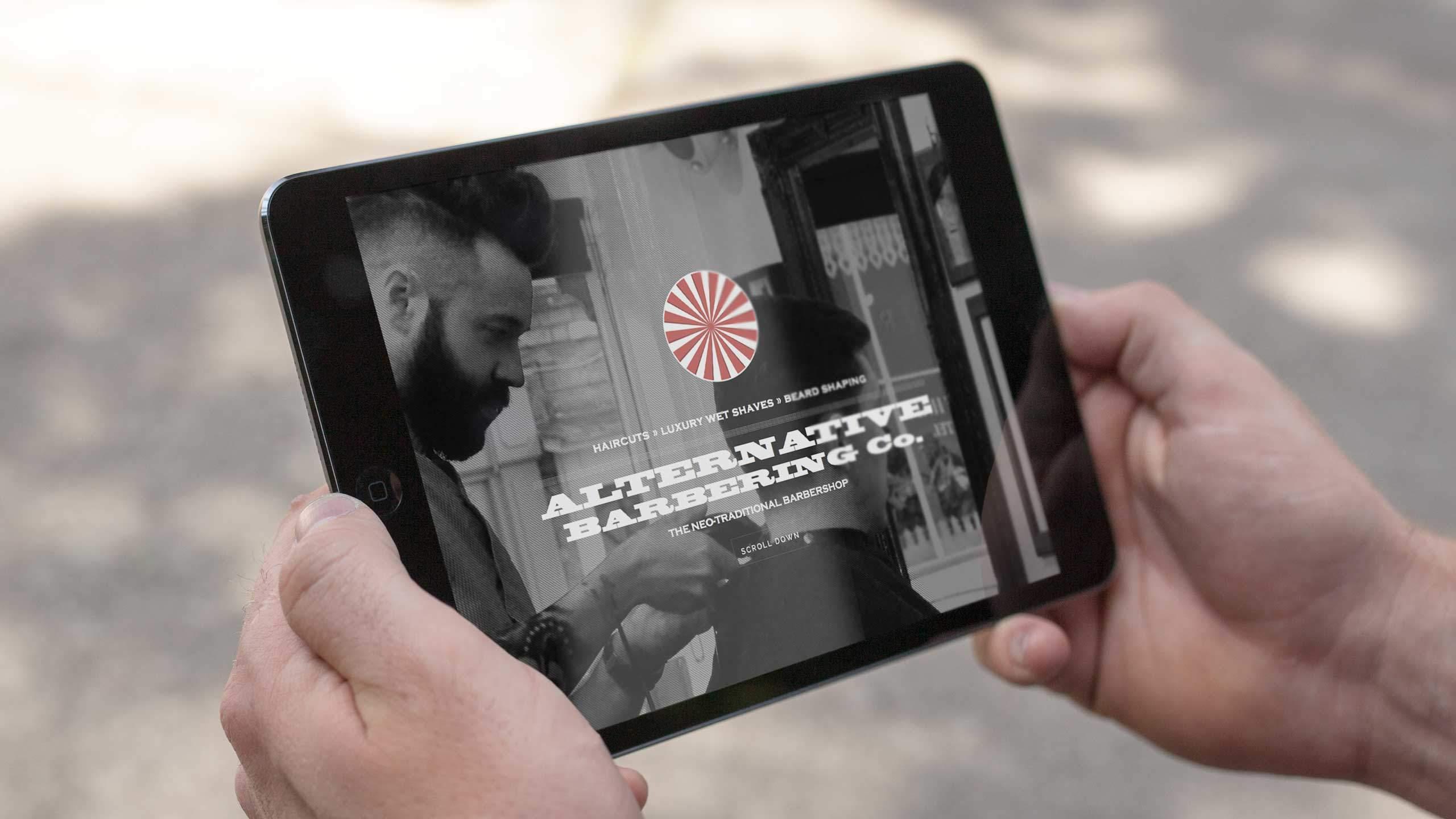 barbershop branding home page ipad alternative barbering co
