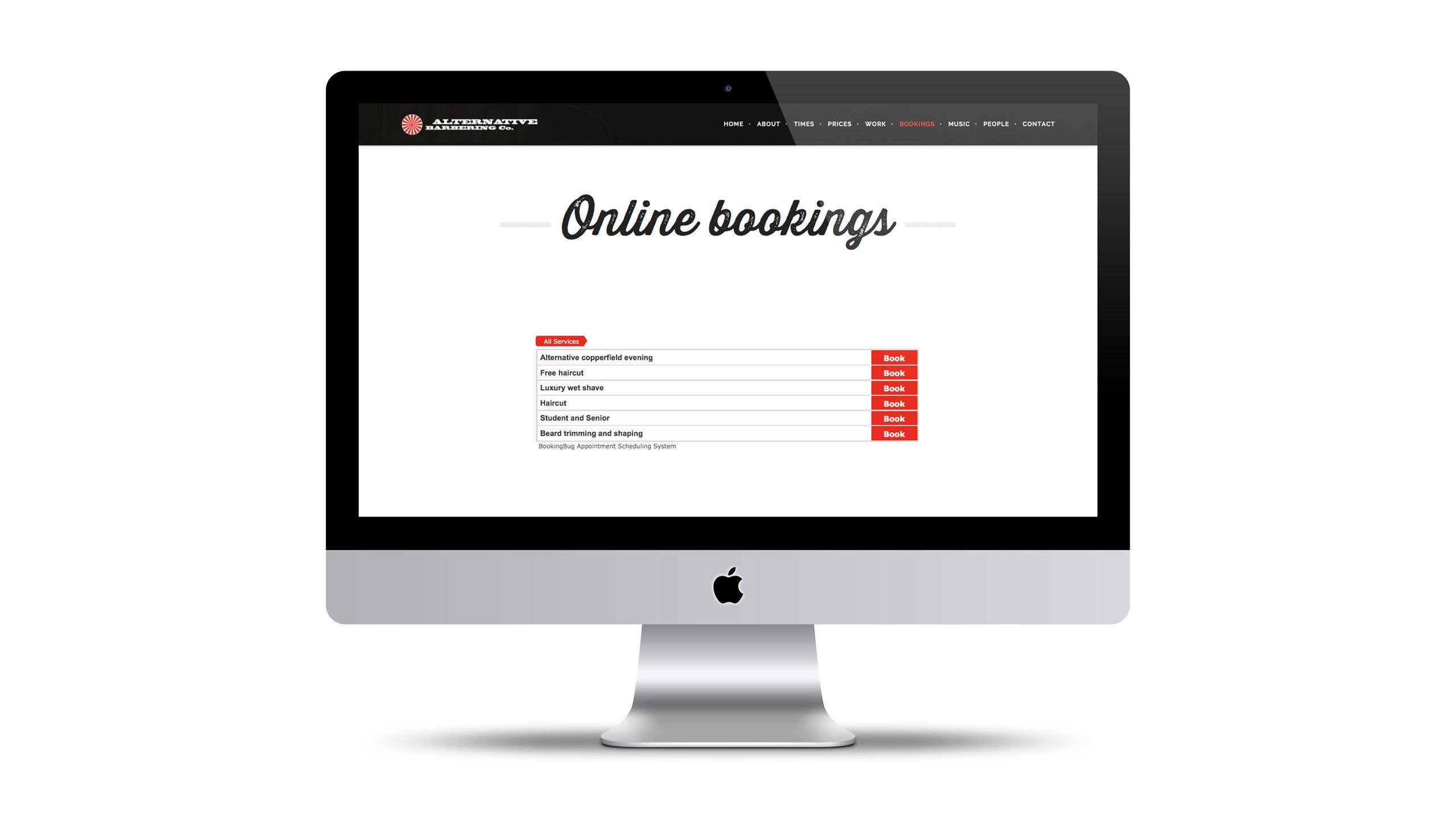 barbershop website design online booking page alternative barbering co