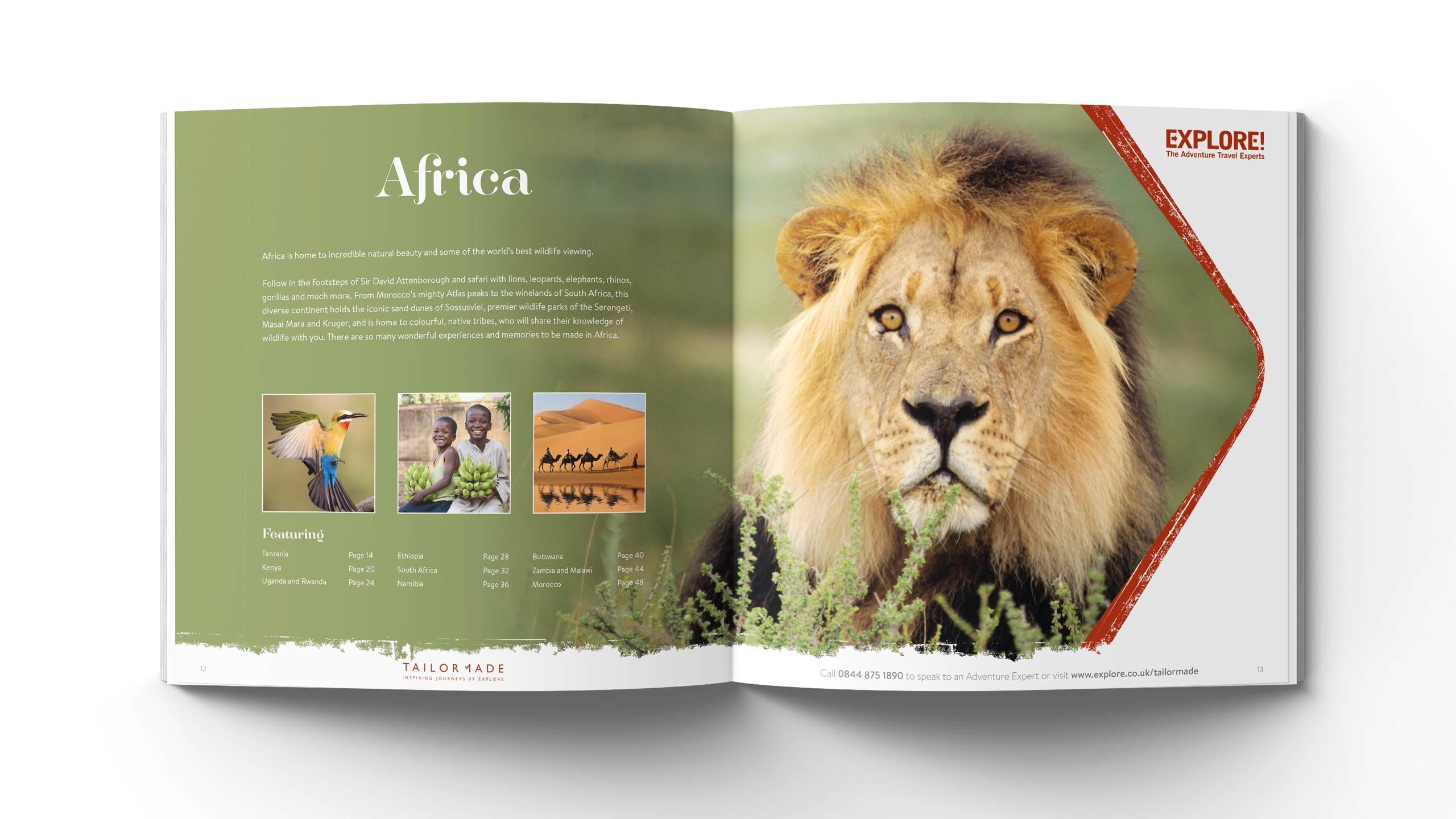 bespoke travel brochure design africa pages explore tailor-made