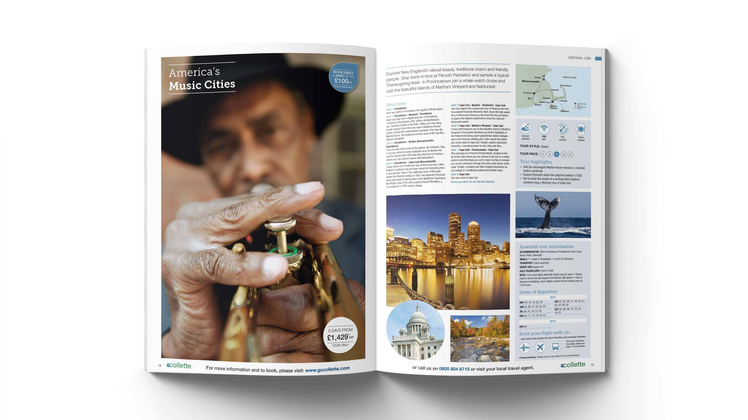 escorted travel brochure design americas music cities pages collette thomas cook