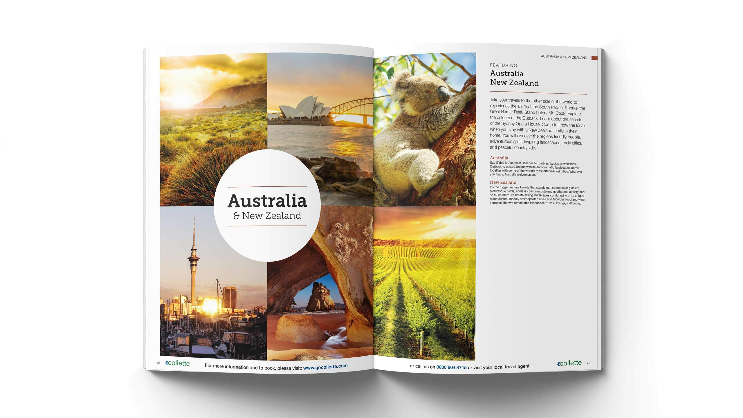 escorted travel brochure design australia new zealand pages collette thomas cook