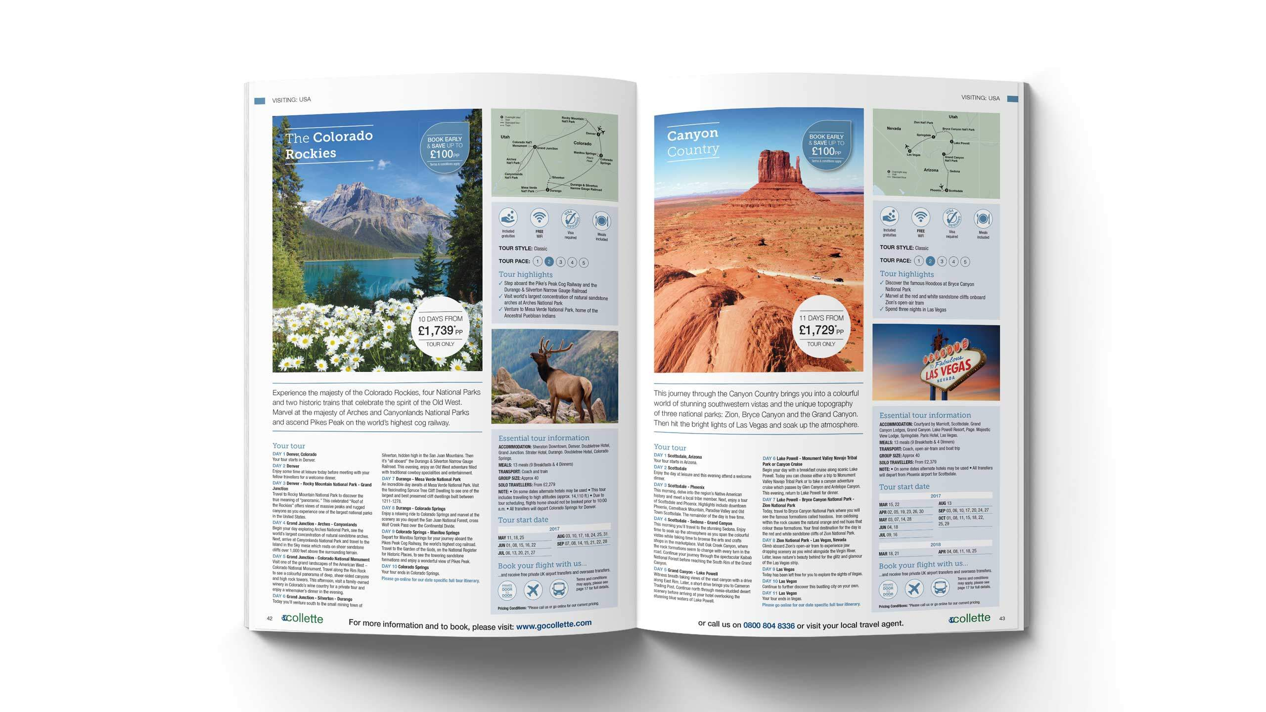 escorted travel brochure design rockies grand canyon pages collette thomas cook