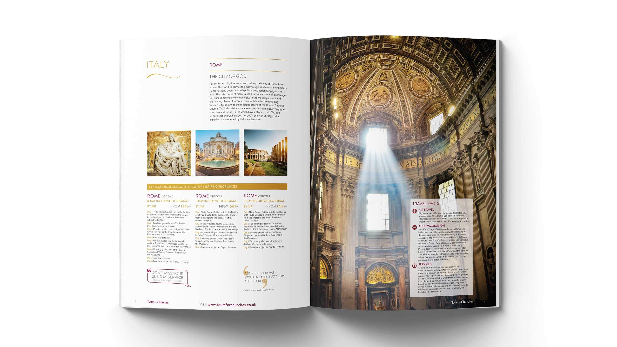 religious tours brochure design city of god pages tours for churches