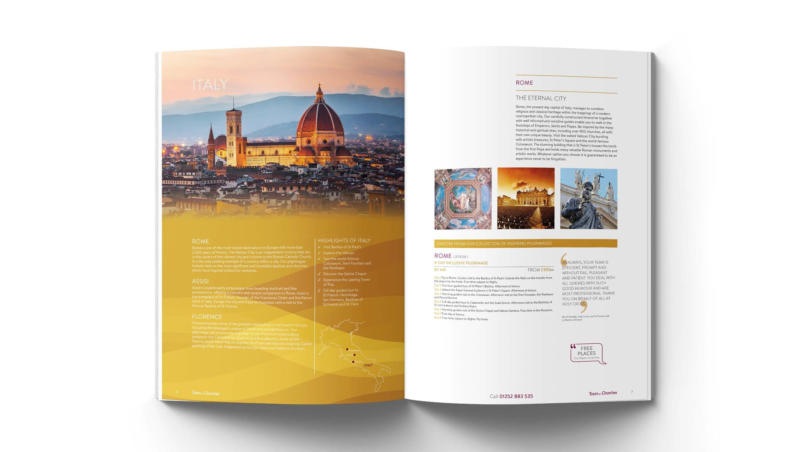 religious tours brochure design the eternal city pages tours for churches