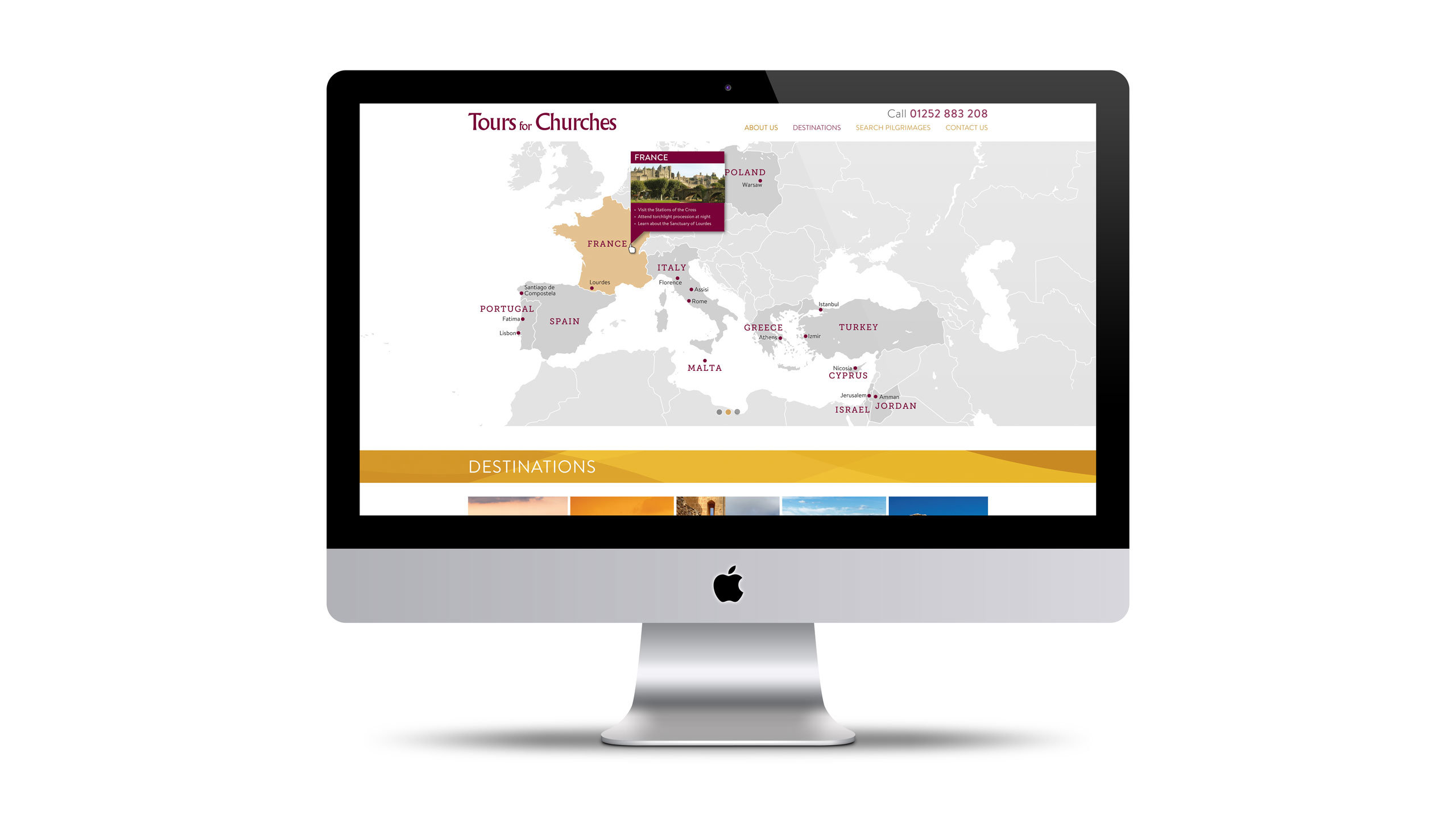 religious tours website design map page imac tours for churches
