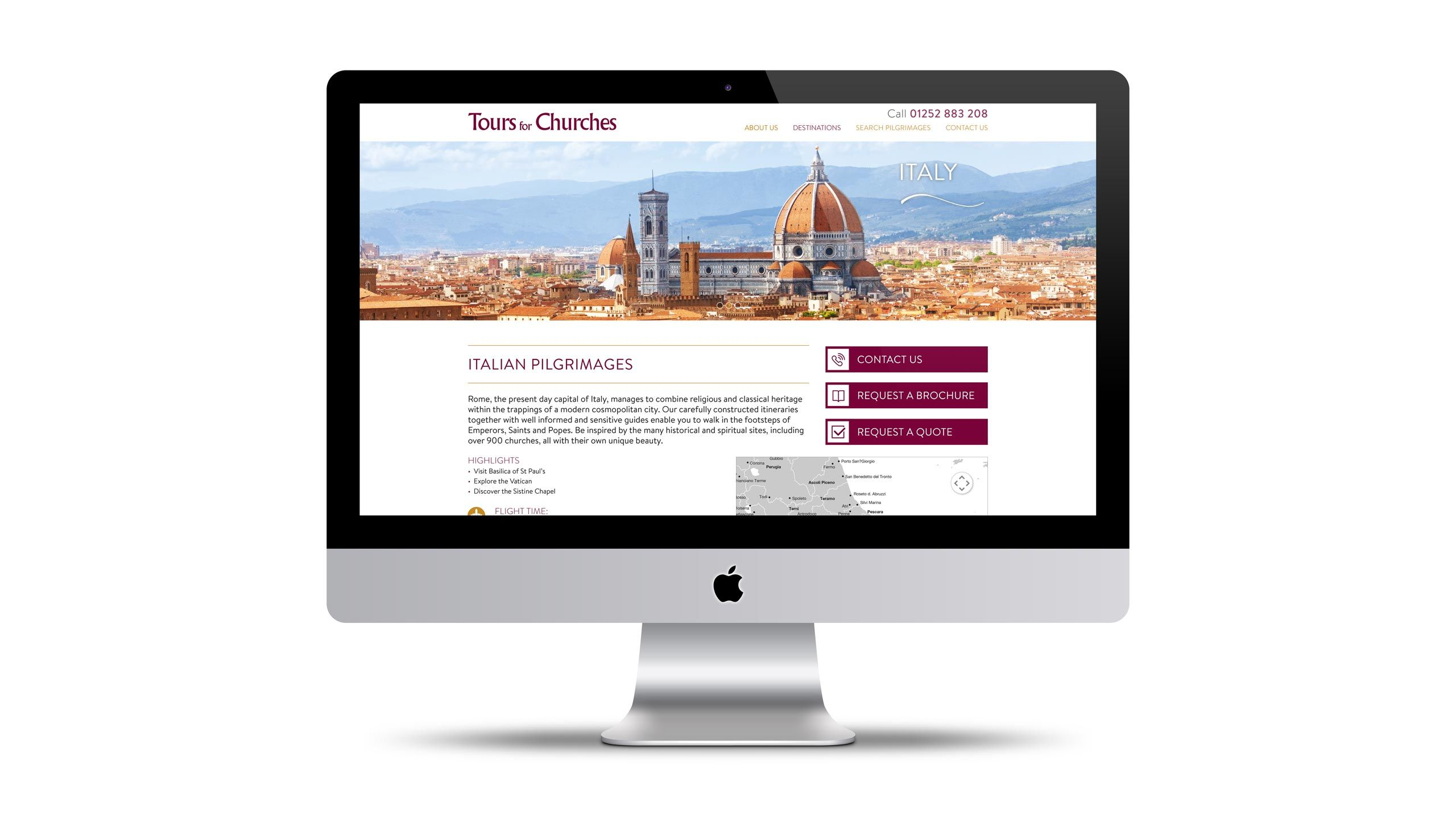 religious tours website design destination page imac tours for churches
