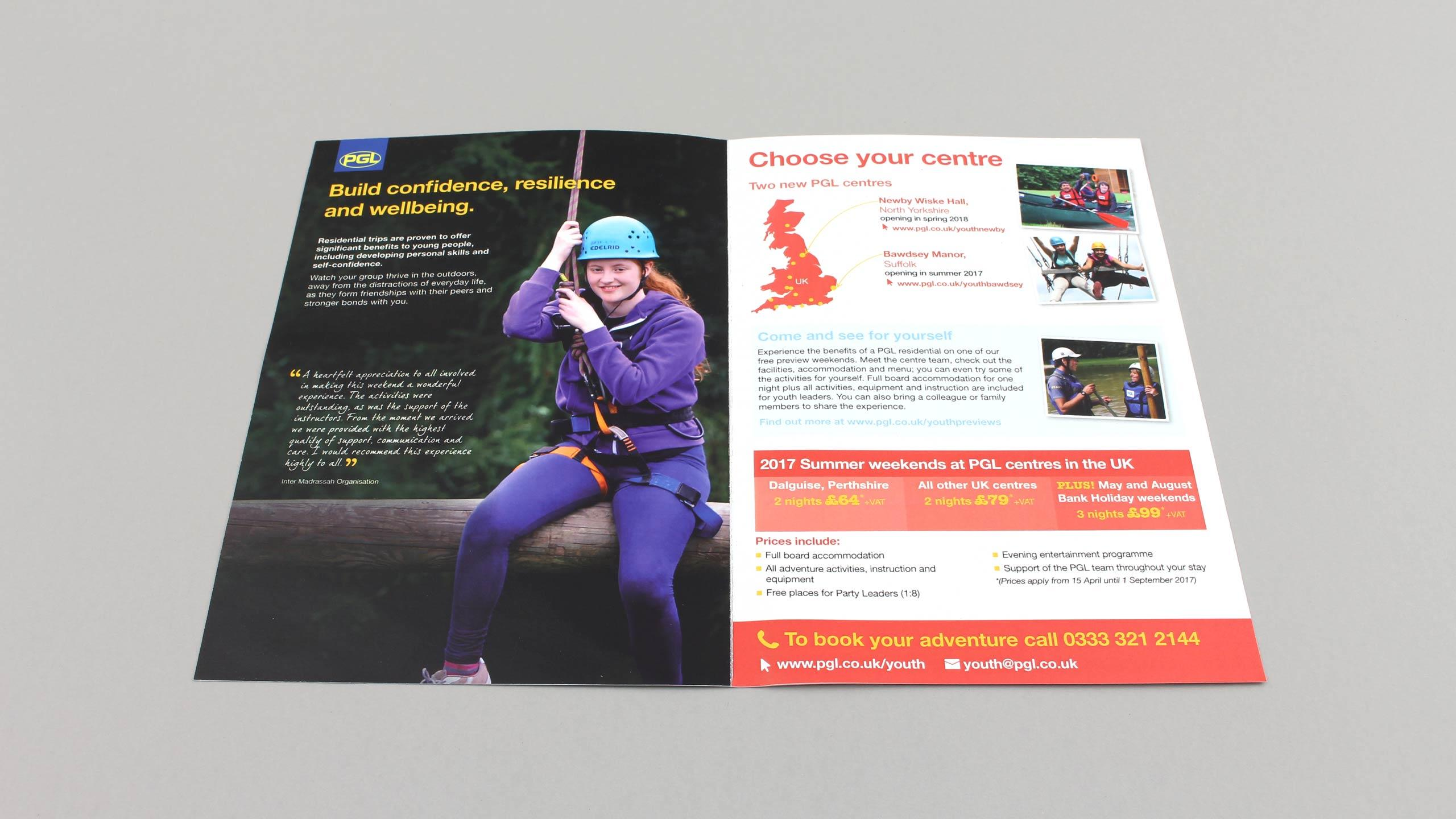 school adventure brochure design confidence centre pages pgl travel