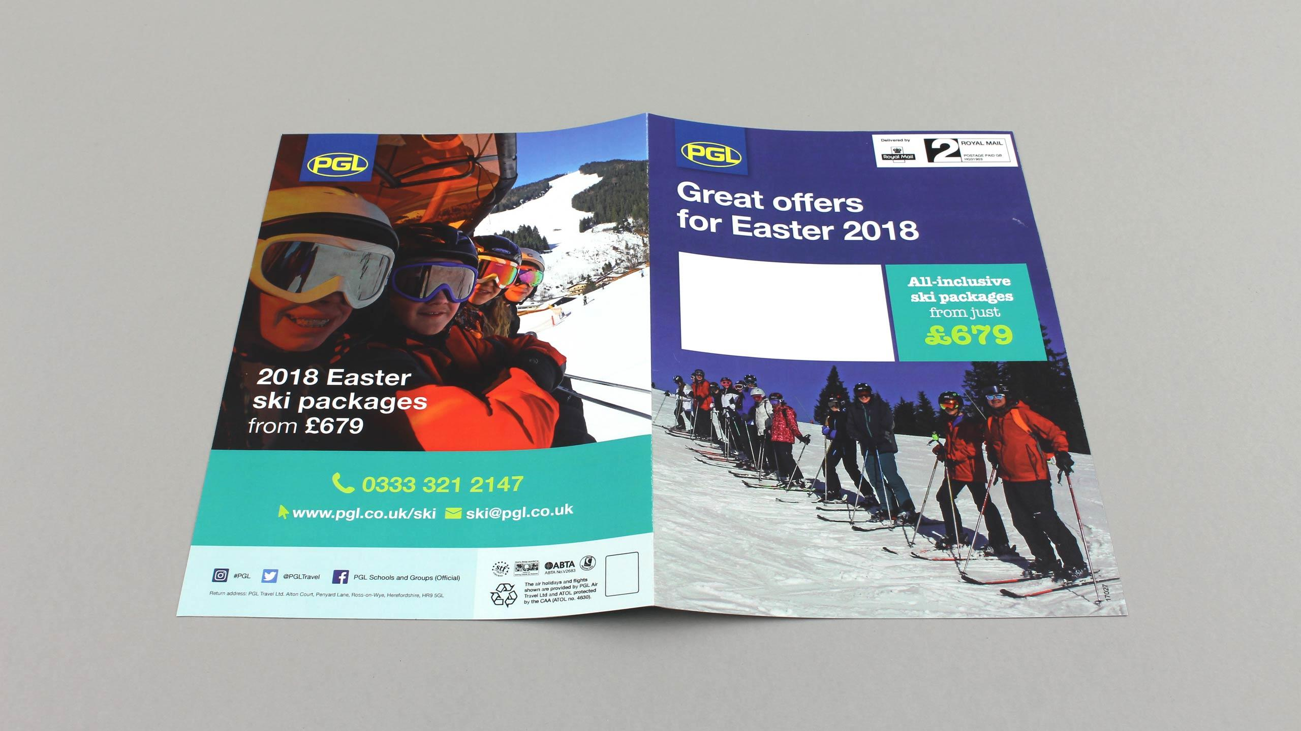 school adventure brochure design easter ski front back cover pgl travel