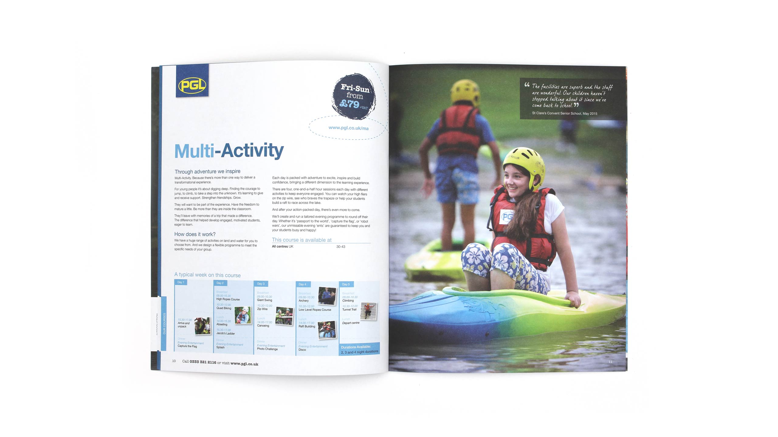 school adventure brochure design multi activity pages on white pgl travel