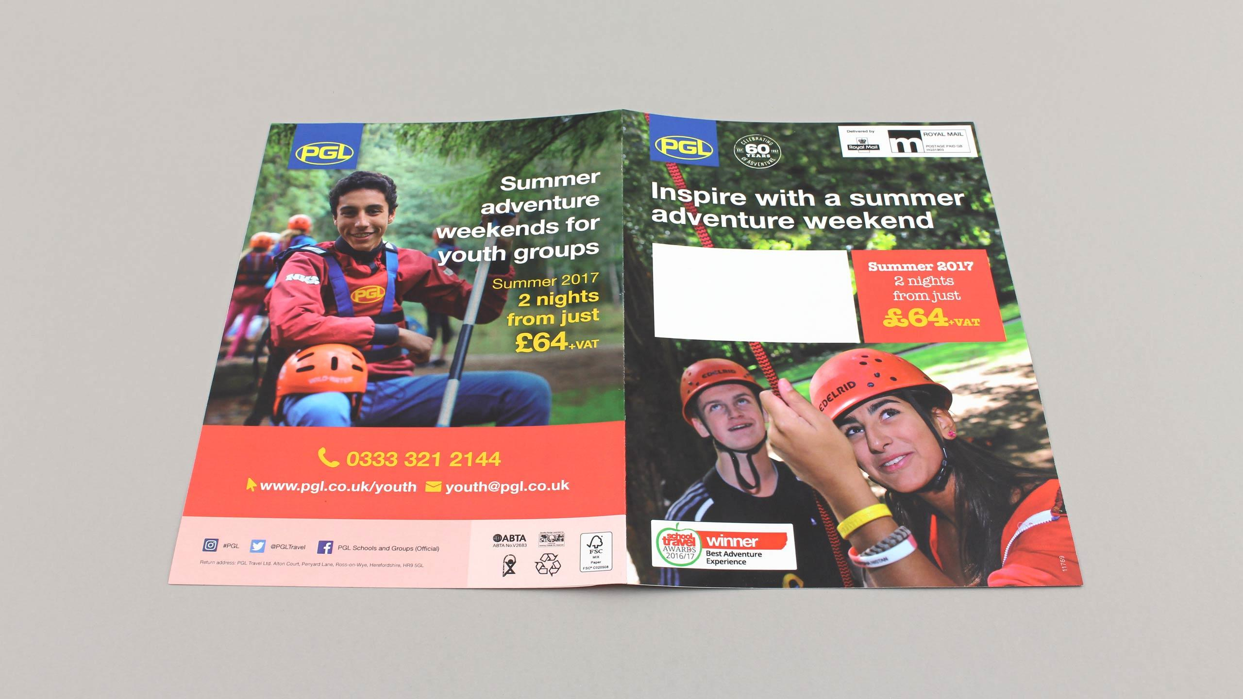 school adventure brochure design youth groups front back cover pgl travel