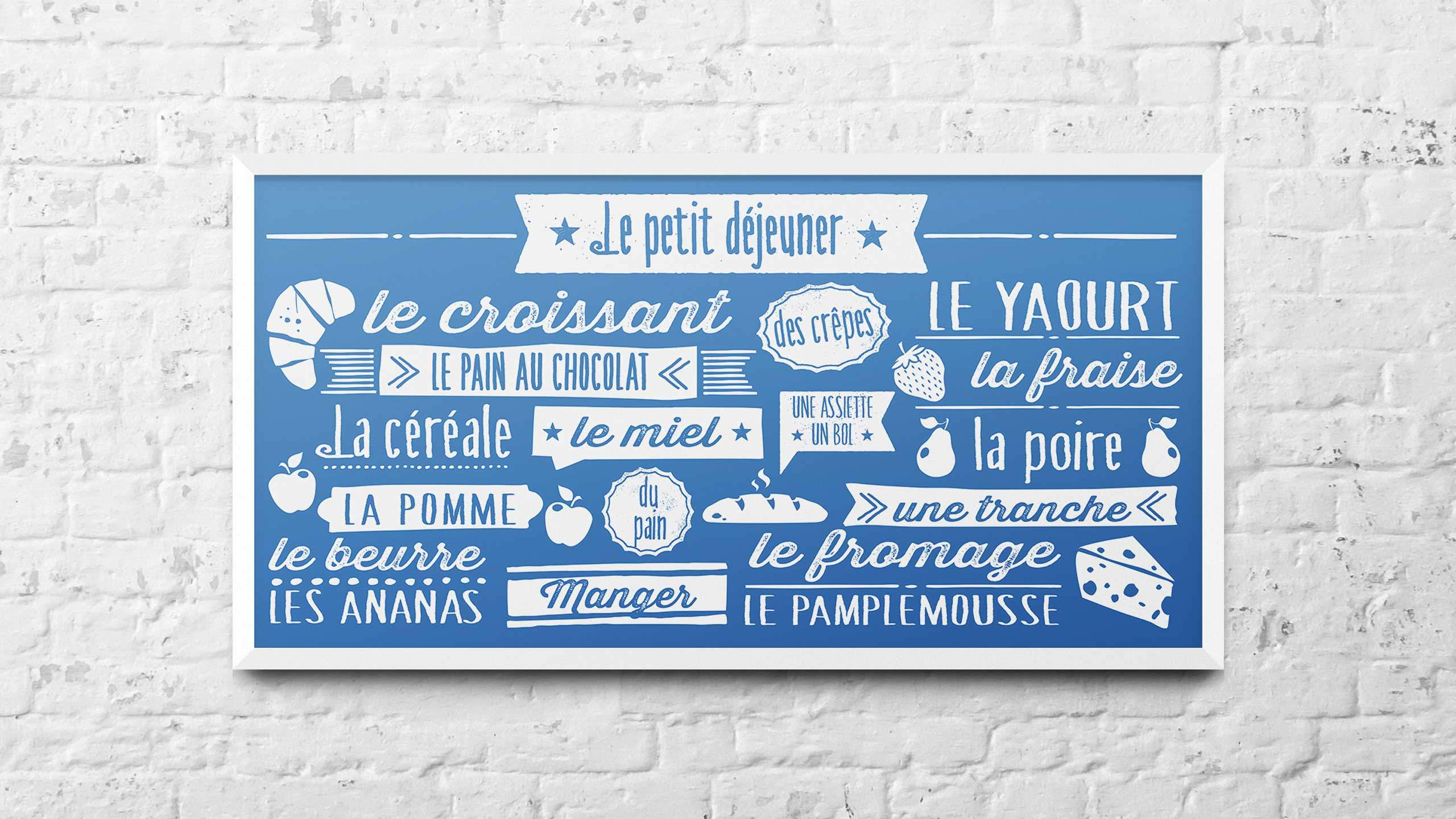 school adventure graphic design breakfast blue french wall art pgl travel