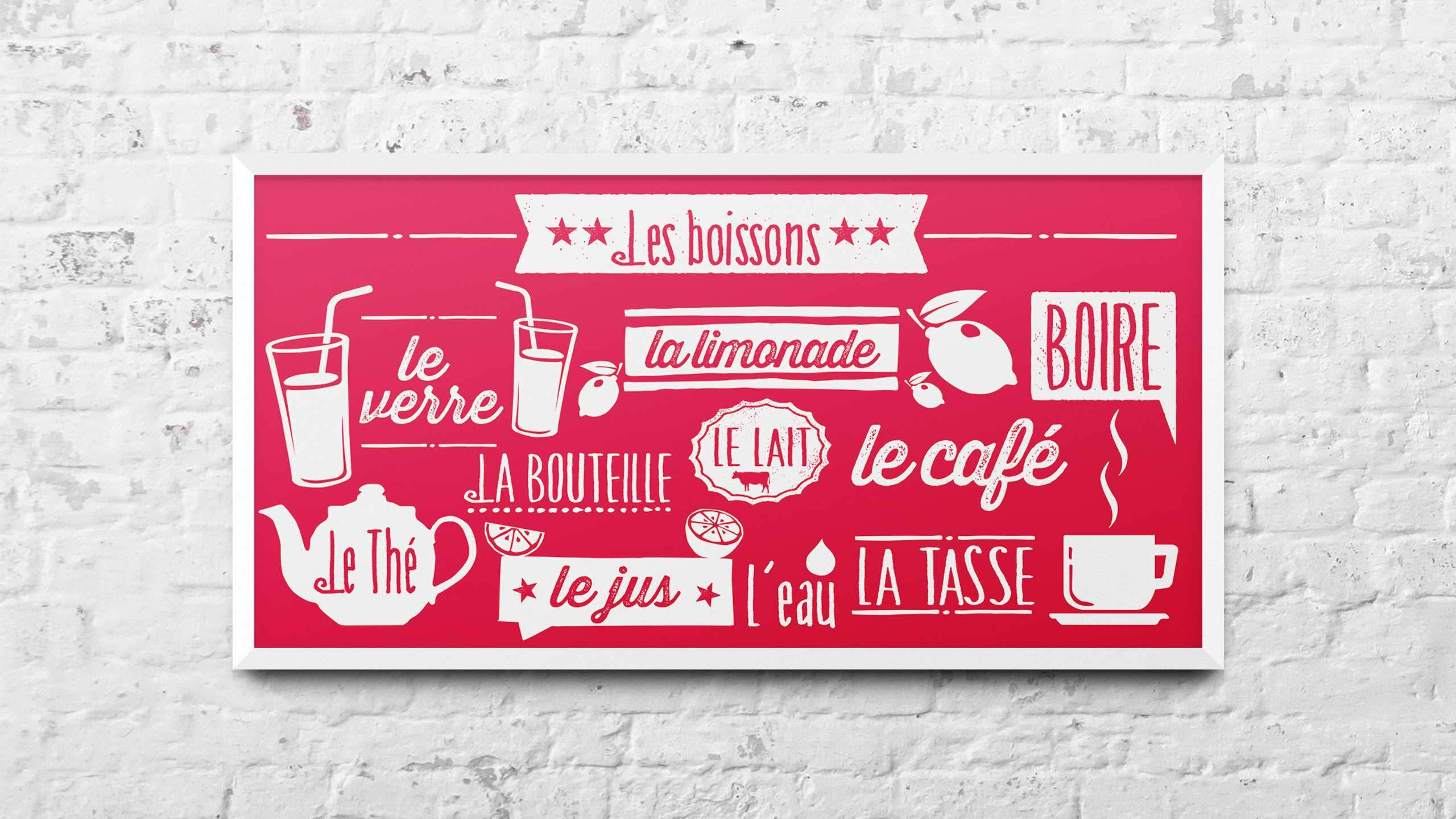 school adventure graphic design drinks red french wall art pgl travel