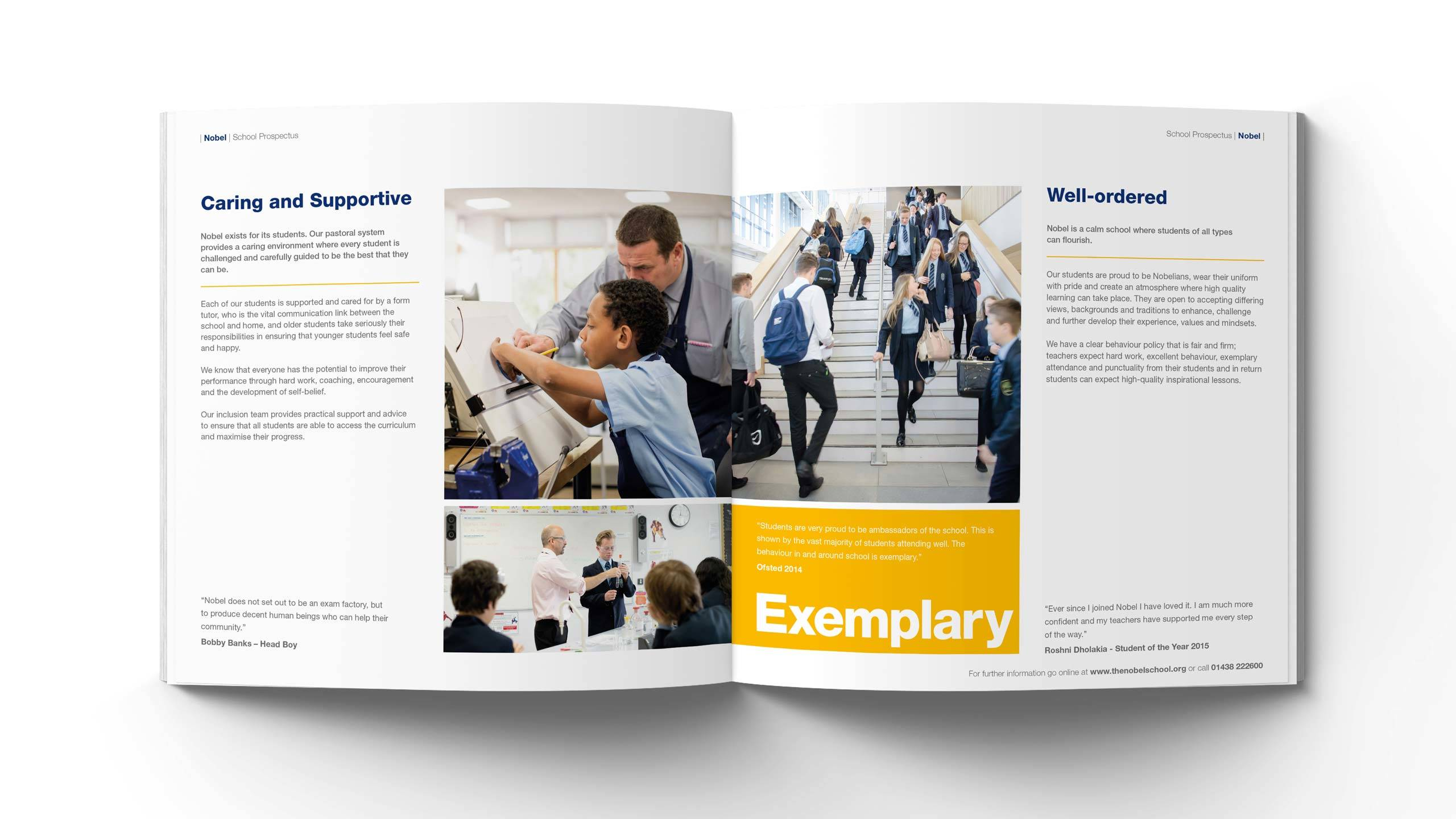 secondary school prospectus design caring supportive well ordered pages the nobel school