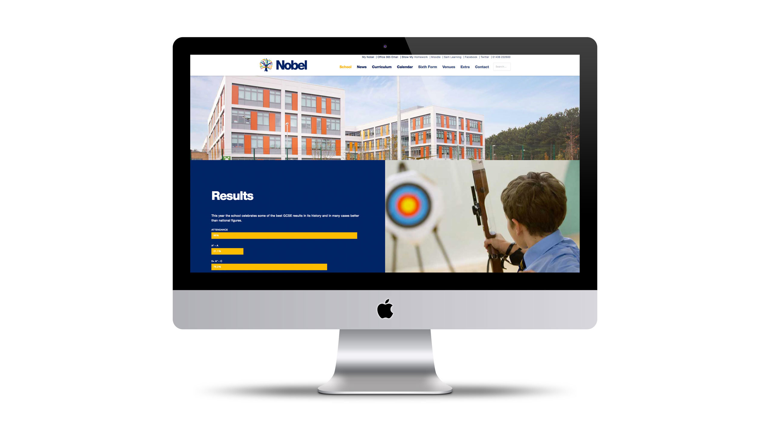 secondary school website design results page imac the nobel school