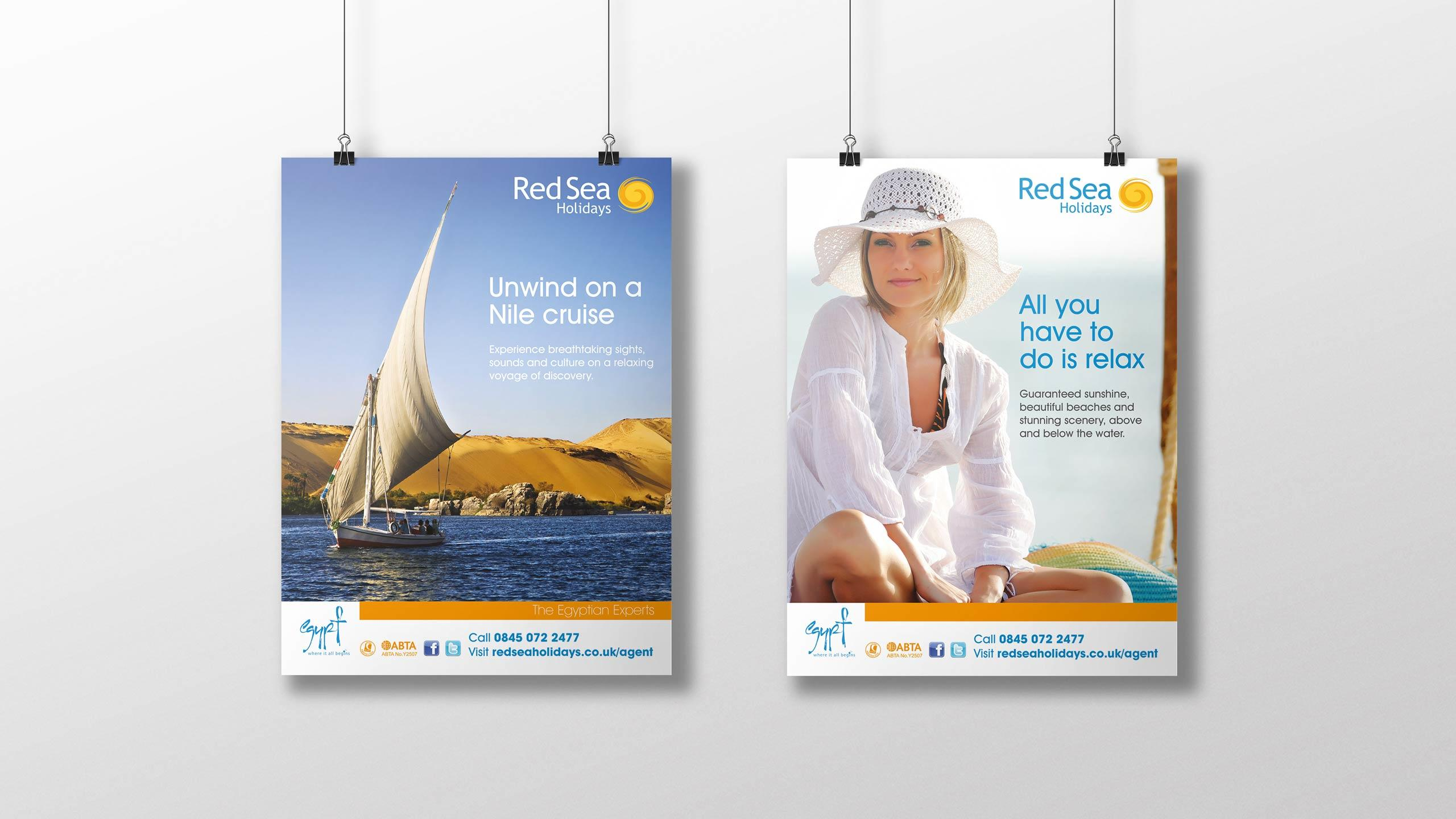 tour operator branding posters sail boat woman hat red sea holidays