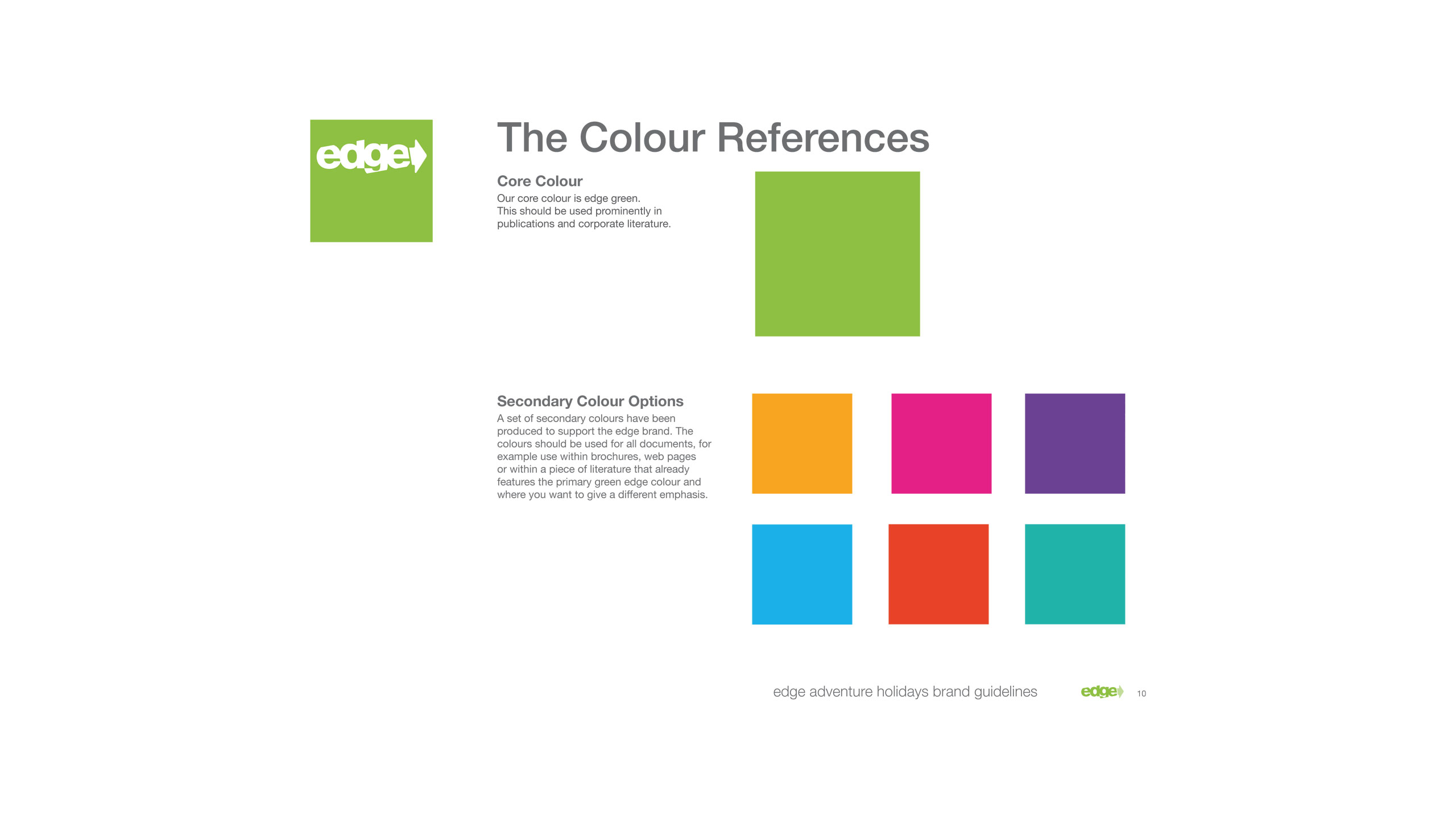 18-30 travel branding brand guidelines colour reference edge adventure